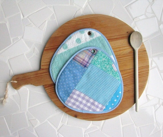 sale clearance potholders in aqua, mint, lilac and teal patchwork - hot pads - polka dots - foodie gift - hostess gift - large potholders