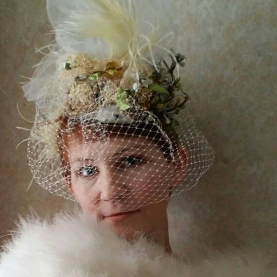 Reserved for Jessica: Oswin// Bridal Veil Fascinator Half Hat Vintage Romantic Whimsical