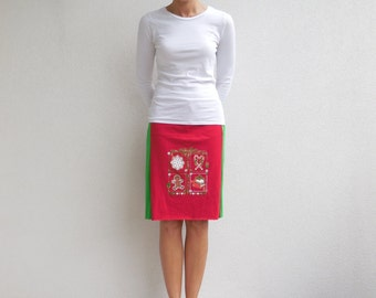 T Shirt Skirt Women's Christmas Scenery Skirt Womens Skirt Green Red White Recycled Upcycled Cotton Skirt Fashion Soft Fun Winter ohzie