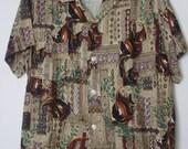 50's Penney's Rayon Tropical Fish Print Hawiian Mens Shirt