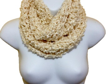 Crochet Circle Infinity Scarf Cowl Ivory
