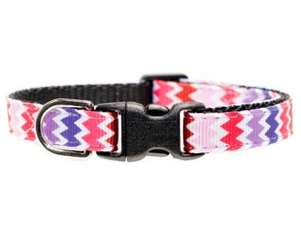 "Cat Collar - ""The Copycat"" - Multicolored Chevron"