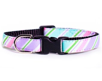 "Cat Collar - ""The Little Miss Bliss"" - Multi-Colored Stripes"