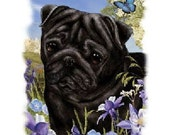 Black Pug Dog Flowers and Butterfly White T Shirt Womens Sizes Free Shipping to USA