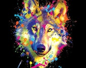 Unisex Blacklight Top Neon Wolf T Shirt Neon Florescent Wolf Print Free Shipping to USA19071BT2