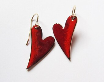 Red heart dangle earrings Sweetheart enamel jewelry Small red drop earrings Gold wires Romantic Gift for her