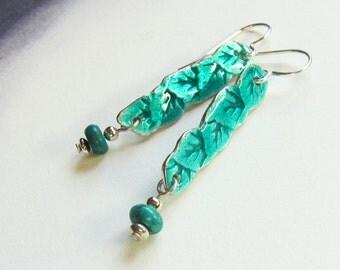 Green leaves enamel dangle earrings One of a kind silver art jewelry Teal turquoise leaf earrings