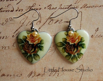 Victorian Rose Heart Earring with Pearl