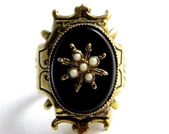 Vintage Gothic Gold Etched Enamel Black Onyx and Pearl Ring - Huge Statement - Adjustable