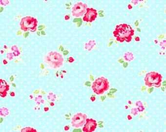 Garden floral in Aqua from the FOG City Kitty collection by Pam Kitty Morning for Lakehouse drygoods