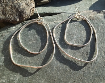 organic double hoop swinging earrings in sterling silver