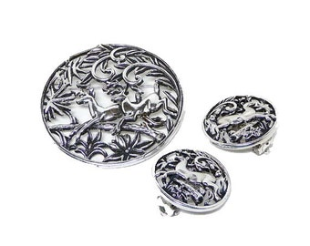 Sarah Coventry Woodland Brooch & Earring Set - Deer Leaping over Branches