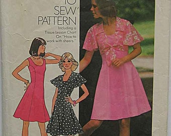 Vintage 70's Misses' Short Princess Seam Dress and Top Simplicity 6798 Sewing Pattern Size 10