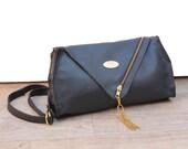 Dark Blue Fake Leather Clutch. Cross Body Clutch. Woman Handbag. Chic Purse w/ Adjustable Strap. Cinderella Clutch. FREE SHIPPING