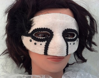 White and Black Domino Mask with Gems and Ostrich Feathers