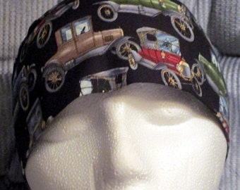 Handmade Black Chemo Cap or Skull Cap with Antique Cars, Bald, Hair Loss, Motorcycle, Do Rag, Hat, Head Wrap, Old Cars, Surgical Cap, cancer