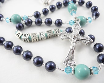 Personalized Rosary in Navy Blue and Turquoise - Baptism, First Communion, or Confirmation for a Boy or Girl