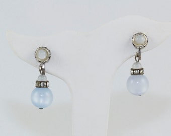 Screw Earrings Mid Century Moonstones and Round cut Diamond crystals Prong set Silver metal Elegant and classic