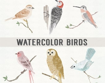 WATERCOLOR BIRDS // PNG Files - Photoshop Brushes // Photo Overlays // Photography - Logo // Personal-Use // Instant Download