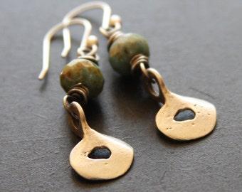 SALE Sage Green Glass Sterling Silver Earrings, Sterling Dangle Earrings, Earthy Sterling Earrings,