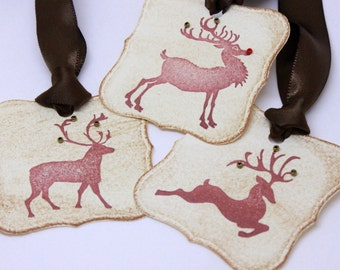 Christmas Tags (Doubled Layered) - Reindeer Gift Tags Deer Gift Tags Rudolph Gift Tags - Vintage Inspired Christmas Gift Tags  - Set of 9