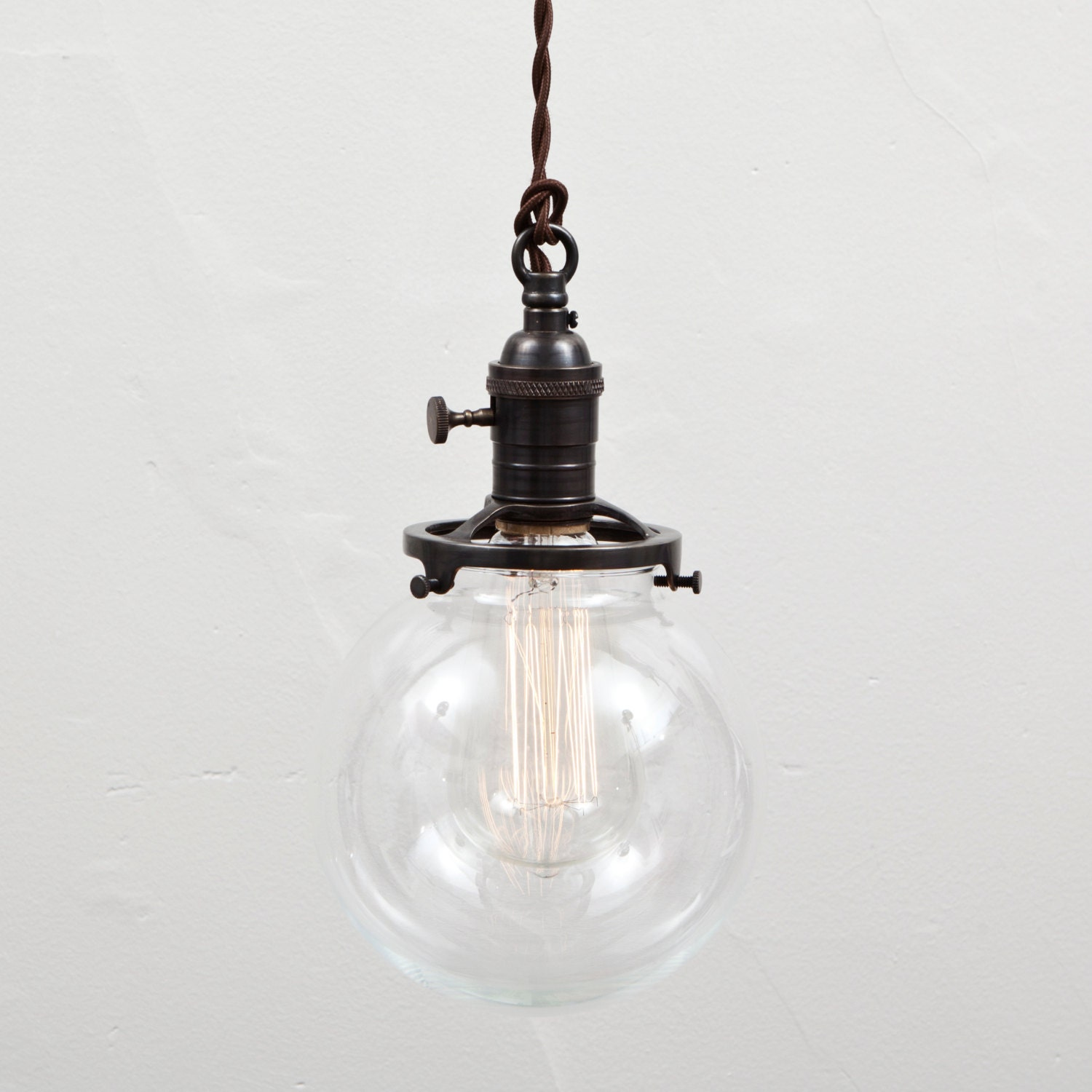 Pendant Light Glass Globe Shade Switch Socket By FleaMarketRx