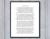 Poem Art Print, If, Rudyard Kipling, graduation gift, inspirational poetry about life