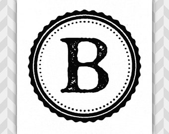 Monogram Art Print, Typographic, Vintage Printing Press