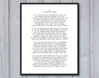 Poem Art Print, If, Rudyard Kipling, graduation gift, inspirational poetry about life