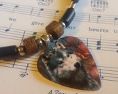 Guitar Pick Necklace - Wolf - Animal Jewelry - Wolf Jewelry -  Adjustable - Black Cotton Cord - 2mm