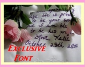 Exclusive Handwriting Font - Embroidered Gifts, Keepsake Hankies with gift box.  Monogramm or Words, just for your Wedding Day, Personalized