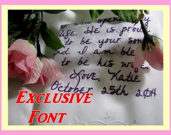 Exclusive Handwriting Font - Wedding Gift Ideas and Bridal Gift Ideas. Wedding Handkerchief. Custom and Personalized