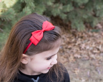 Red Satin Bow Headband. Hair Accessories. Girls Hair Accessories. Christmas Headband. Valentine's Day. Red Bow Headband. Red Hard Headband