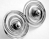 Sterling Silver Earrings large Handcrafted Hammered & Oxidized Irregular Spiral Swirl Stud Post Earrings