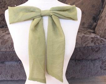 Cute chiffon bow applique olive color