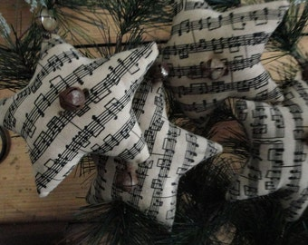 Primitive Hanging Musical Note Christmas Cotton Star Ornies-Bowl Fillers-SET OF 3