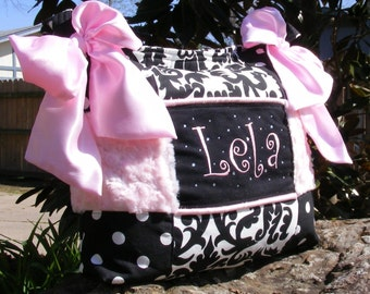 Large Diaper Bag Beautifully Baby Girl Designed Custom Made Chic High Fashion Whimsical Overnight Messenger High Quality Batting insulated.