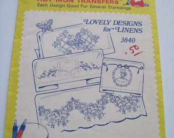 Aunt Martha's Hot Iron Transfers - 3840 - LOVELY DESIGNS for Linens - Never Used