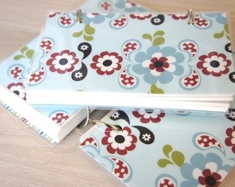 SALE ITEM Mini Note Book / Reversible Cover Ring Binder / Pale Blue, Red, White, Olive Green stripe and floral pattern / Gift under 10