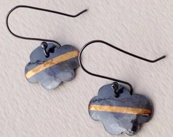 Dark Cloud Keum Boo Earrings, Handmade, Oxidized Silver, black and gold, gold stripe earrings, cloud, cartoon earrings, modern, handmade