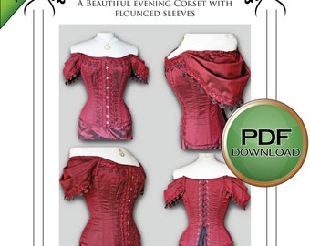 PDF Instant Download Corset pattern, steampunk, wedding, gothic, Burlesque Full size pattern Large