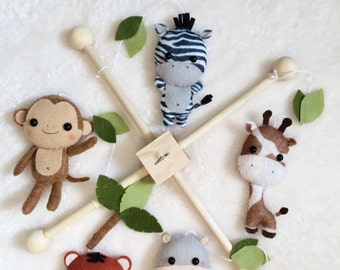 Jungle Safari Baby Mobile - Nursery Decor - Custom Color