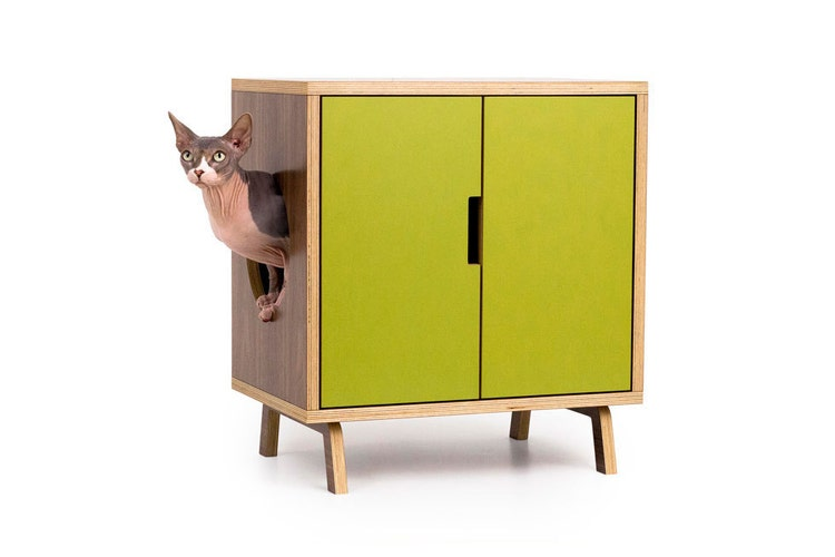 Mid century modern cat litter box furniture small by modernistcat - Modern cat litter box furniture ...