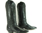black cowboy boots womens 6.5 m b vintage western code west leather