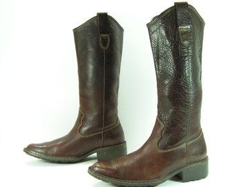 born cowboy boots womens 7 B M dark brown campus western cowgirl vintage leather