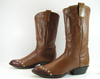 vintage cowboy boots womens 5.5 M B brown western leather lizard vintage tony lama cowgirl