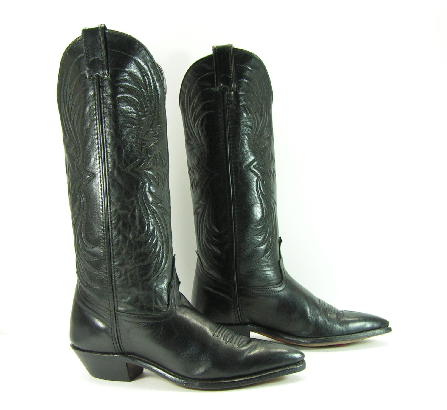 black cowboy boots womens 6 5 m b vintage by