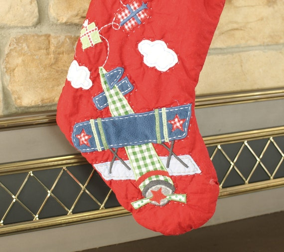 Airplane Stocking Pottery Barn Quilted Stocking Red Plane