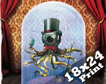 Freak show oddities dark art circus poster octopus print | Steampunk scuba diving deep sea diver antique industrial horror decor 18x24 print