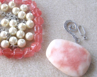 Candy Jade  Pendant, Cherry Quartz Pebble Beads,  Glass Pearls, DIY Jewelry Kit, Craft Supplies, Bead Kit, Gemstones, Jewelry Making Beads